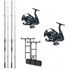 Kit 2 Lansete DAM Camaro Carp 3.60m 3.00lb+2 Mulinete DAM Quick Fighter Pro Metal 360 FD+Rod Pod DAM MAD H-Bar+Buzzer Bar